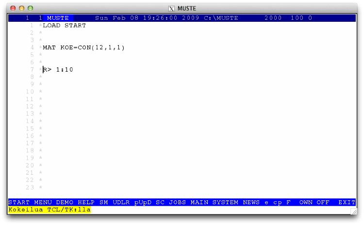 One of the very first versions of Muste running